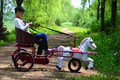New horse bike for kids power wheels horse carriage