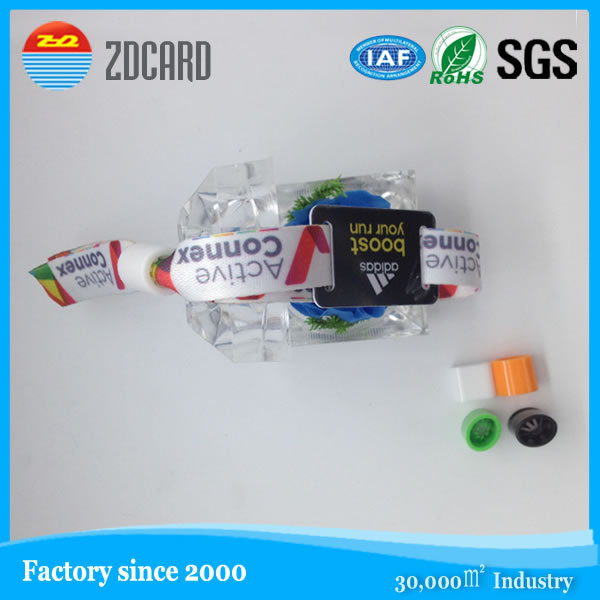 Customized festival woven em rfid wristband With locks