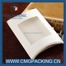 Paper pillow box packaging with clear pvc window