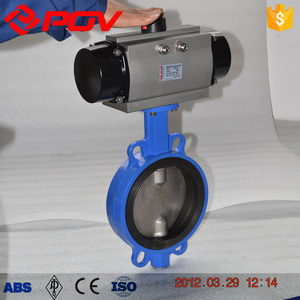 4 inch cast iron wafer pneumatic butterfly valve