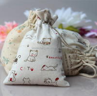 Plain simple printed jute gift bag/small cotton drawstring bags