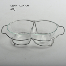 New design clear glass salad bowl with iron wire frame