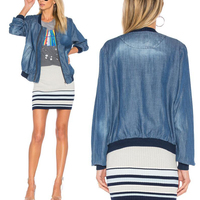 100 Tencel Denim Women Zipper Jacket