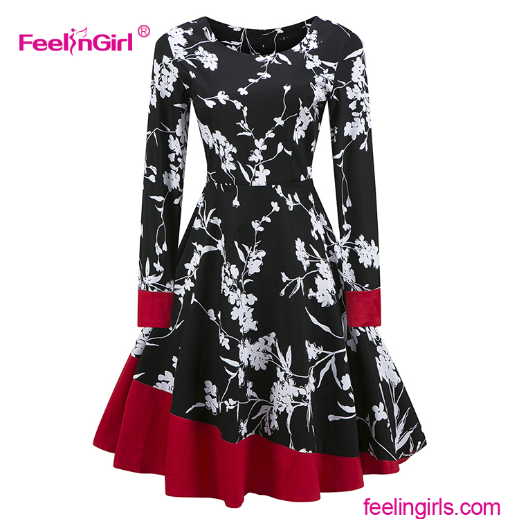 Fashion Women Ladies Long Sleeve Skater Malaysian Gothic Party Long Dress