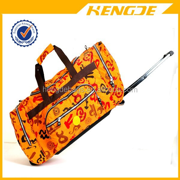 new designer canvas durable trolley travel duffel bag