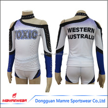 Kids rhinestones cheerleading uniforms,cheerleader top and short,youth sublimation cheer costume