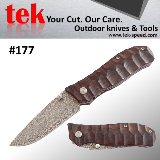 SOLD OUT Real 71 layers micarta handle folding blade damascus pakistan knife