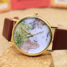 New 2015 Fashion World Map Bracelet wrist watch for lady With Leather Strap