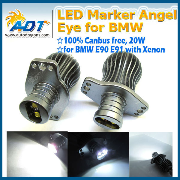 20W 7000K HID Headlight LED Marker Angel Eye Light Lamp Halo Rings Bulbs For BMW E90 E91 05-08
