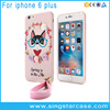 Soft Rubber Silicone Case For iPhone 6 3D Rose Bling Diamond Cover For iPhone 6 Plus Cases With Wrist Lanyard