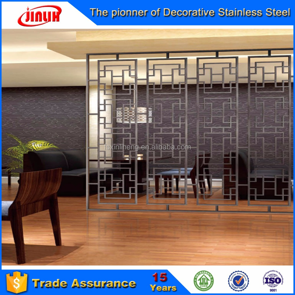 Laser cut Sus 304 black color decorative Stainless Steel Room Divider/screen