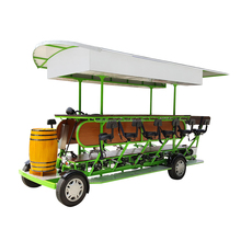 Social and Group Cycling Through the Park Self Serving Quadricycle Pedal Pub Beer Bicycle