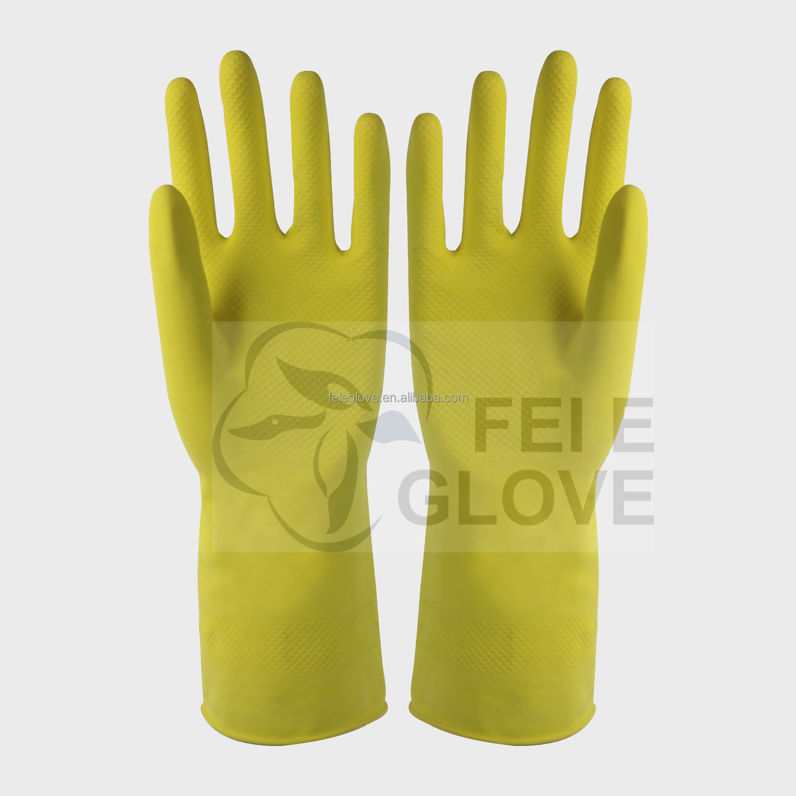 CE 50g pink colour spray flocklined cleaning clothes latex gloves rubber gloves manufactuer /factory