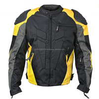 Mens Black/Yellow Armored Race Textile Jacket Quilted Lining Chest YKK Zipper Pocket - High Quality fresh Cordur
