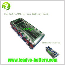New 60V Lithium Battery Pack 60V 2.9AH Li-ion 18650 Battery for Electric Unicycle Scooter