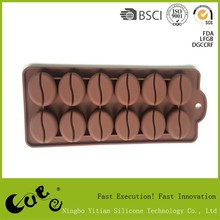 12 holes chocolate bean shape silicone ice cube tray