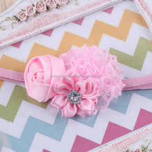 "3"" Shabby Flower Headbands lace flower With sunflower Satin Ribbon Rose Flower Headband Toddler Baby Headbands pink color"