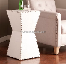 Modern design faux leather bedside tables white geometric sofa side table for living room furniture