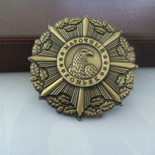Antique brass metal military emblems,custom bronze army badge