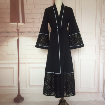 modern islamic clothing Abaya Dresses Black Long Sleeve Maxi Dress Polyester Islamic Clothing Abayas for women