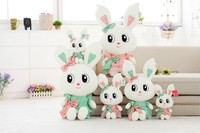Professional Factory Cheap Wholesale low price white stuffed plush rabbit wild animal with printed green skirt&big cartoon eyes
