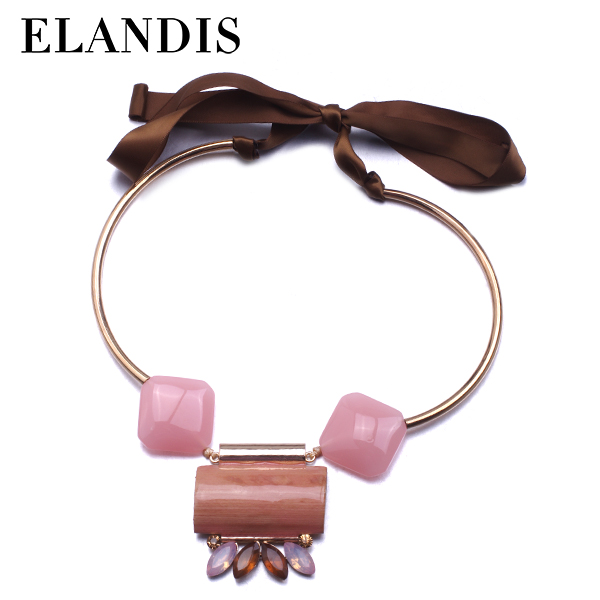 E-ELANDIS charming fashion pink resin ribbon necklace for women