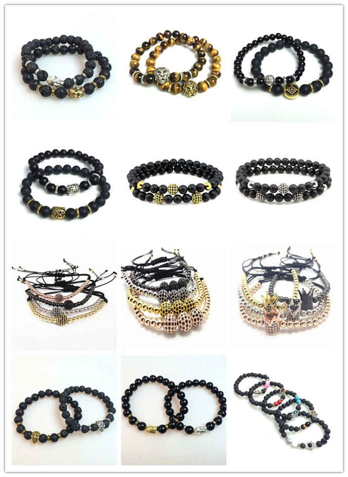 Custom Made DIY Natural Stone Tiger Eye lava Beads 2017 Trending Stone Jewelry Fashion Braided Mens Bracelets