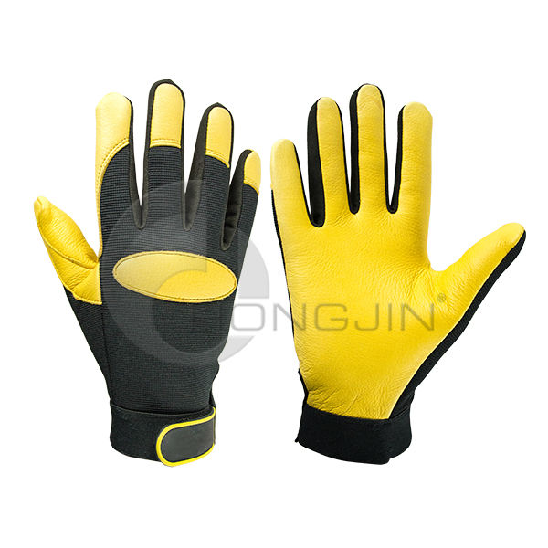 Men's Deerskin Leather Mechanics Gloves