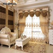 Fancy curtain design with European style chenille embroidery sheer curtain fabric