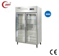 C2 stainless steel double glass door showcase fridge cooler 900L
