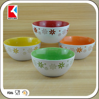 wholesale 4 color mixed debossed design ceramic soup bowl with handle
