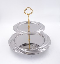 2 Layers Fruit Plate Stainless Steel Wedding Fruit Candy Dish