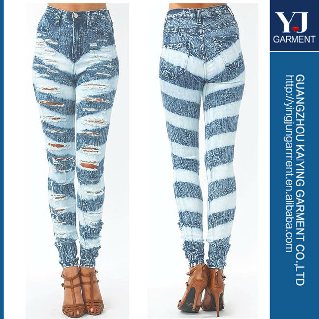 High Waist Acid Wash Stripe Distressed Ripped Slashed Denim Skinny ...