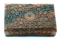 Handmade rosewood hand carved wood chest jewely box