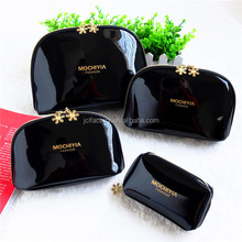 luxury black pu leather makeup bag cosmetic bag with logo