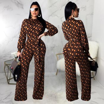 Ladies garments long sleeve printed one piece jumpsuit for women