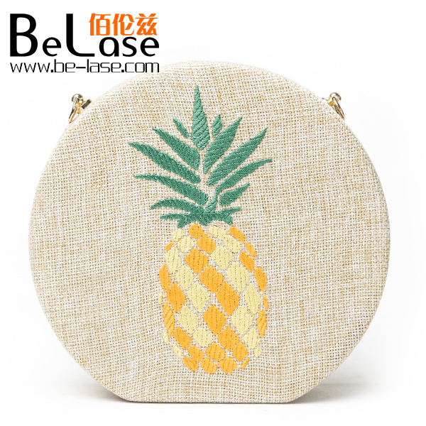 2017 New Style Women's Embroidery Pineapple Handbag Circular Shape Crossbody Shoulder Bag