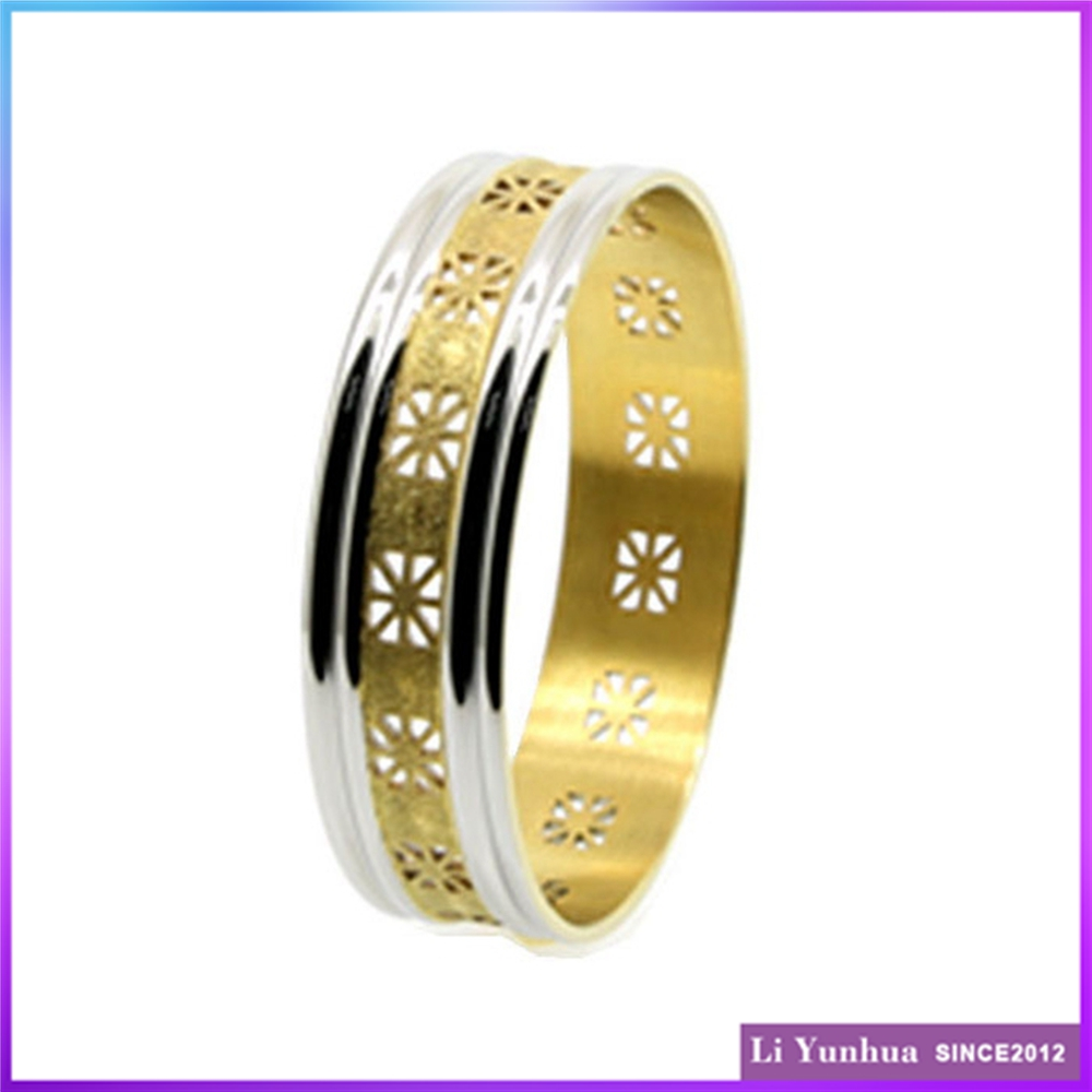 Top Class Buckingham Jewellery Bangle 18K Gold Plated Saudi Arabia Jewelry Laser-Cutting Grooved Stainless Steel Bangles