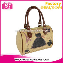 Sublimation Printing French Style Jute Linen Hand Bags Woman Brands 2015 Handbag Collection