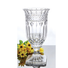 New arrival clear and high quality beautiful hand cut crystal <strong>glass</strong> flower vase