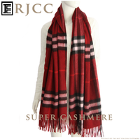 RJCC Premium Cashmere Scarf Shawl with Check Design for Winter Wear from Inner Mongolia