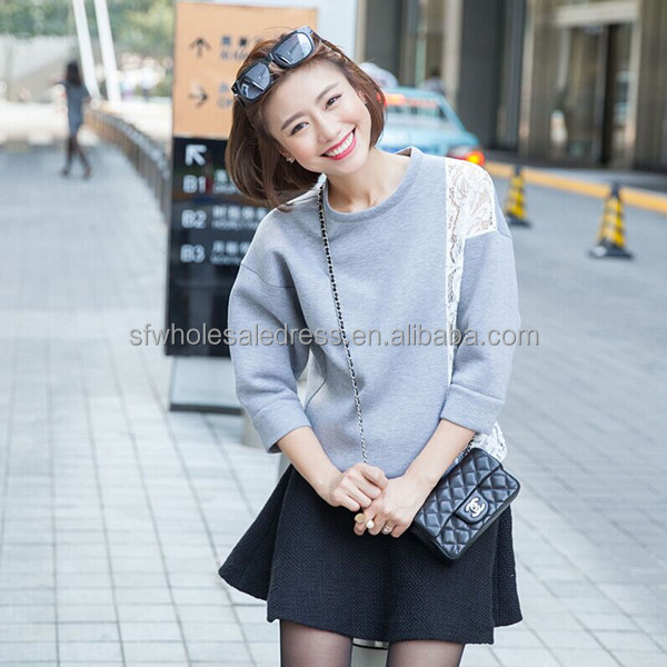 Ladies fashion simple trendy cotton Korean style autumn blouse