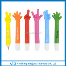 China Manufacturer Colorful Hand Shape Plastic Logo Cheap Pens