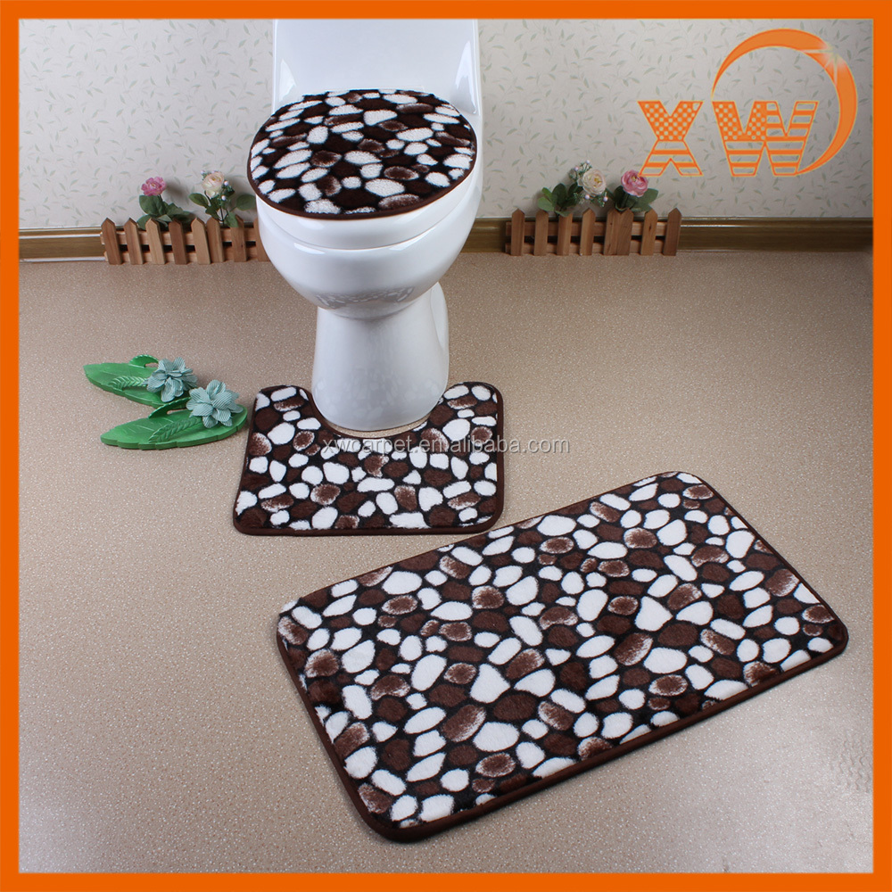 New soft PV fleece washable bathroom artificial animal skin mat sets