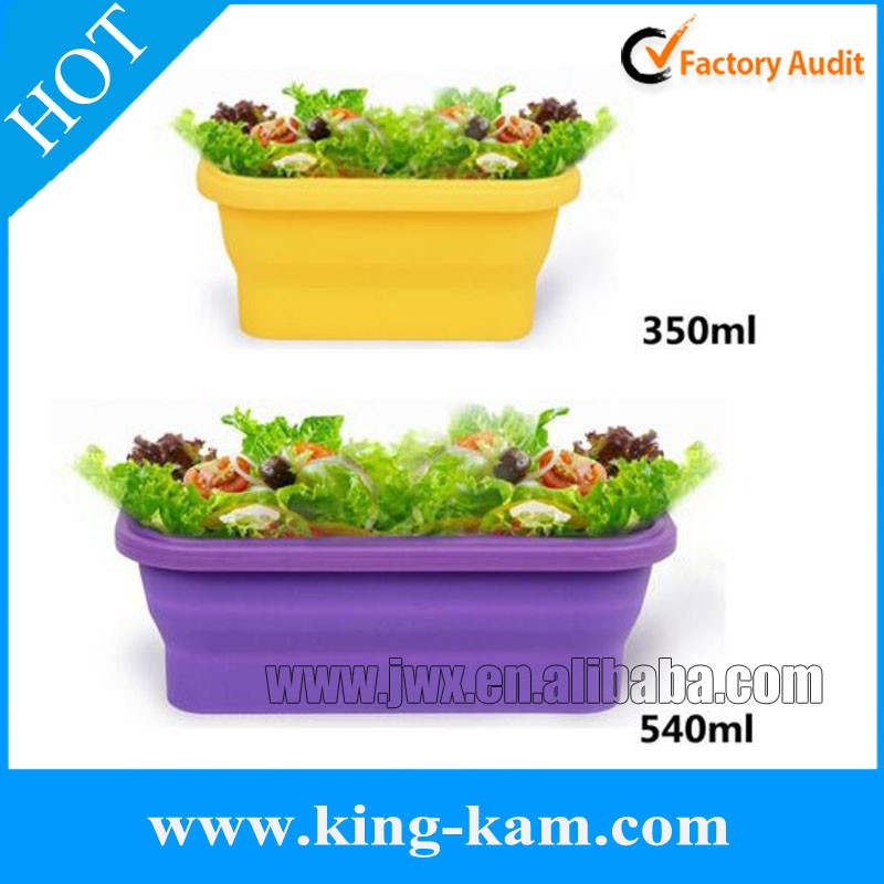 Food grade silicone salad box for kitchen use silicone fruit container