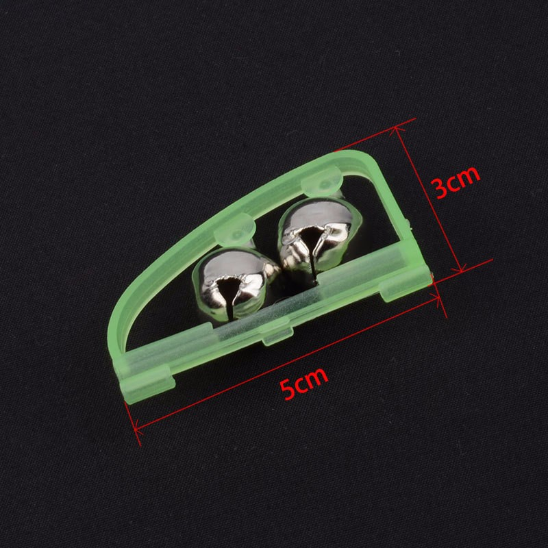 1pcs Fluorescent Fishing Rod Pole Tip Clip Twin Bell Alarm Alert Ring Dark Glow  Tackle Box Accessory tool
