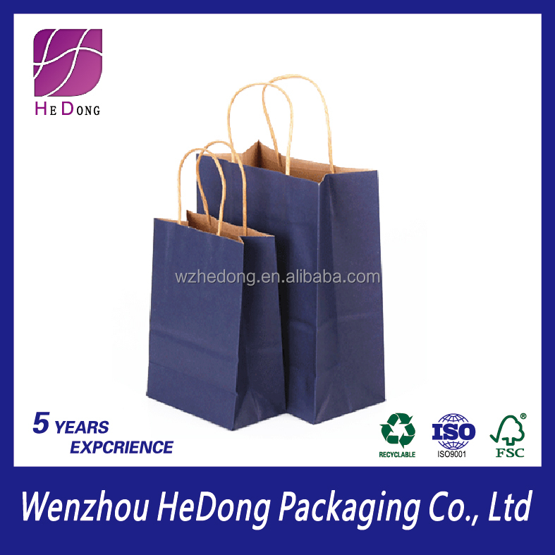 recycle kraft paper packaging bag with handle