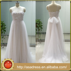 ASAM-15 Sheer Tulle Scoop Neck A-line Lace Appliques Boho Bridal Dress with Bowknot Wedding Dress