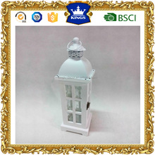Excellent quality white metal top hanging wood lantern