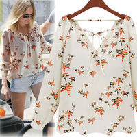 Walson top sales 2015 tops ladies western print woman chiffon woman new blouse best ing